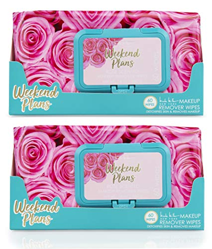 Nicole Miller 2 Pack (60 Count Each) Rose Scented Weekend Plans Facial Cleansing Wipes - Detoxifies Skin and Removes Makeup
