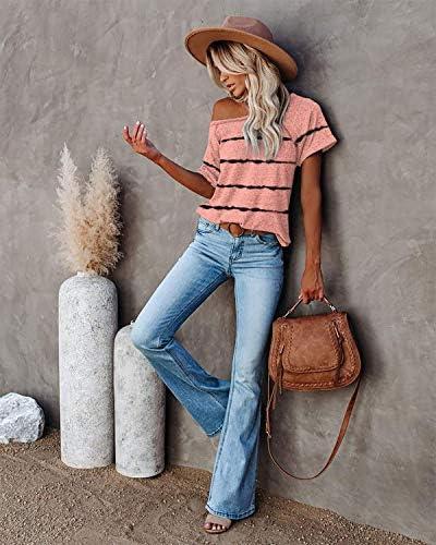 ETCYY NEW Womens Short Sleeve V-Neck Shirts and Raglan Crewneck T Shirts Tees Color Block Casual Loose Fit Tshirts Tops