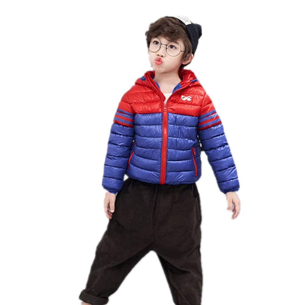 bleu 140cm YZ-HODC Enfants Filles d'hiver vers Le Bas Veste à Capuche Outwear Chaud pour Les Loisirs Unisexe BiCouleure Couture Veste Chaude