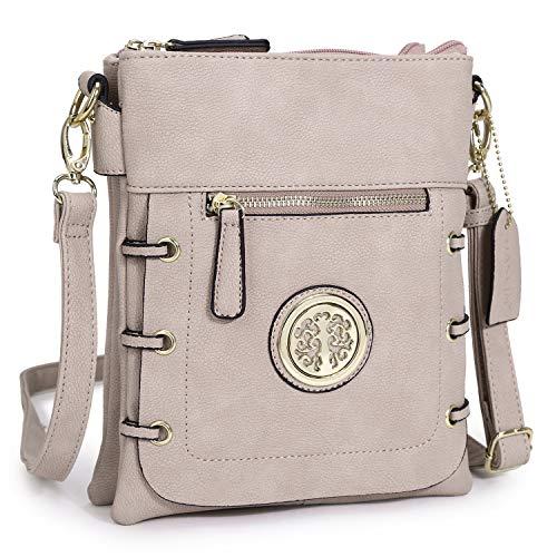 - Women Small Crossbody Purse Ladies Lightweight Multi Pockets Zippers Shoulder Bag (01- Pink)