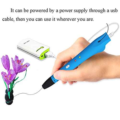 GOOAnn New Upgraded 3D Pen, 3D Printing Pen Compatible with 1.75mm Low Temperature PCL filament, 3D Doodle Drawing Pen, No Clog, 3D Art Crafts DIY or Education Creation Printer Pen for Kids (Blue) by GOOAnn (Image #2)