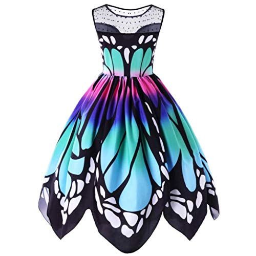 Butterfly Printing Sleeveless Party Dress Vintage Swing Lace Dress for Womens (S, Multicolor)