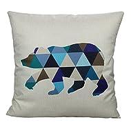 "All Smiles Nordic Geometric Bear Pillow Case Cushion Cover Green Blue 18 x18"""