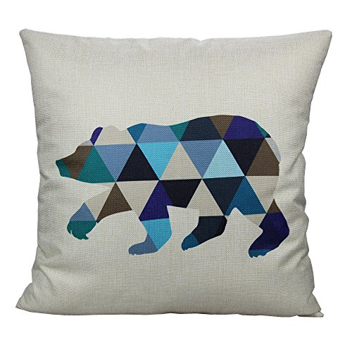 All Smiles Nordic Geometric Bear Pillow Case Cushion Cover Green Blue 18 x18