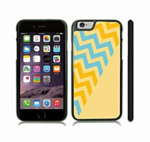 iStar Cases? iPhone 6 Case with Chevron Pattern Vanilla/ Green/ Sky Blue Stripe , Snap-on Cover, Hard Carrying Case (Black)