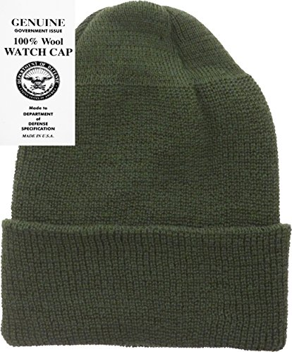 Military Cap Hat Olive (Military Genuine GI Winter USN Warm Wool Hat Watch Cap (Olive)