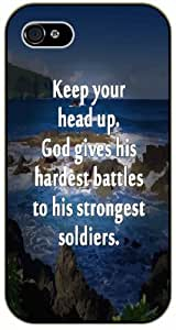 Keep your head up. God gives his hardest battles to his strongest soldiers - Rocks and sea - Bible verse iPhone 4/ 4s black plastic case / Christian Verses