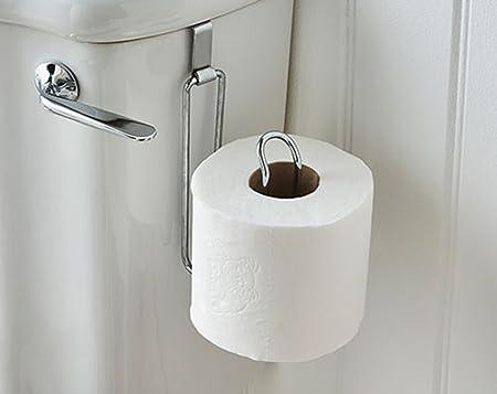 Toilet Roll Chrome Holder Bathroom Hanging Paper Cistern Hook Over ...