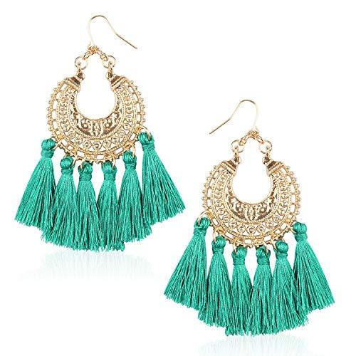 Statement Tassel Bohemian Earrings Handmade Fringe Drop Dangle Earring for Women Gift for Mother Sister Daily Party with Gift Box BVE150 Green