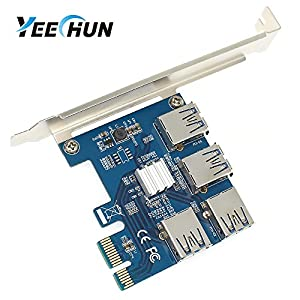 YEECHUN New VER.002 4 in 1 PCI-E Riser Adapter Board 1 to 4 PCI-E 1X Express USB3.0 PCI-E Rabbet Ethereum Mining ETH (4 in 1)