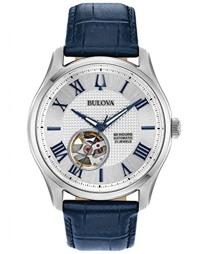 Bulova Leather Clock - Men's Bulova Wilton Automatic Blue Leather Strap Watch 96A206