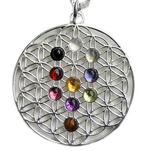 Meditation Jewelry - Spiritual Pendant - Sterling Silver Tree of Life Pendant with 10 Cabochons Pendant and 18 inches Leather Bolo Cord Necklace and Sterling Silver
