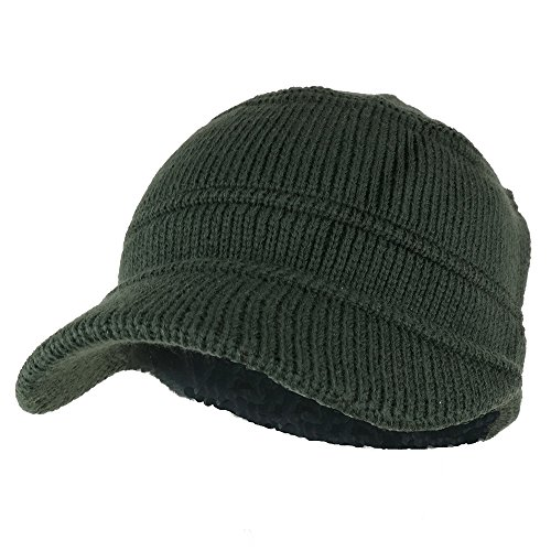 Army Style Acrylic Cadet Winter Beanie Hat with Visor - Olive ()