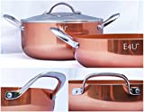 Copper Kitchen Three Piece Dutch Oven - Ceramic Copper Tech Induction Bottom Deep Dish Casserole, 4.5 and 2.5 Quart Stock Pot