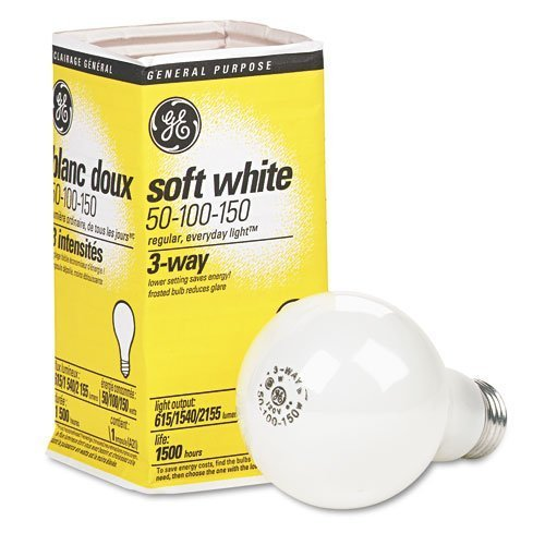 GE 3-Way Soft White Incandescent Bulb, 50/100/150 Watts, 12-Pack