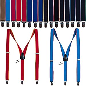 European Slim suspenders Y-back braces 1 inch striped shape, by Bow Tie House
