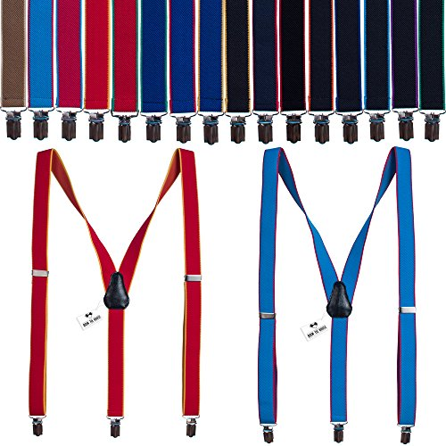 European striped suspenders Unisex Y-back Shape 2.5 cm wide - Many colors