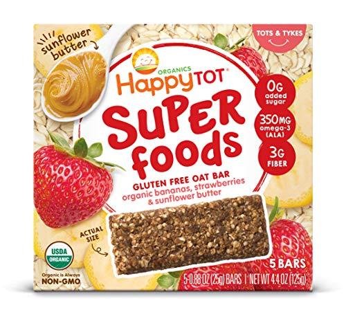Happy Tot Superfoods Oat Bars, Bananas Strawberries