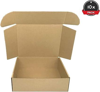 Cajeando | Pack de 10 Cajas de Cartón Automontables | Tamaño 26 x 21 x 8 cm | Para Envíos y Mudanzas | Color Marrón y Microcanal | Fabricadas en España: Amazon.es: Oficina y papelería