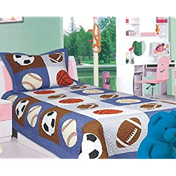 Twin Size Elegant Home Multicolor Sports Soccer Basketball Baseball Football Design 2 Piece Coverlet Bedspread Quilt for Kids Teens Boys # 18-07