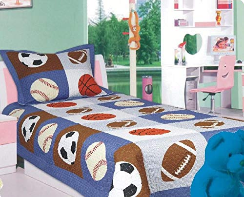 Sapphire Home 2pc Twin Size Bedspread Quilt Set Bedding for Kids Teens Boys, Patchwork Sports Soccer Baseball Football Print Blue Coverlet, Twin Bedspread + Pillow Sham, Twin Patchwork Sport
