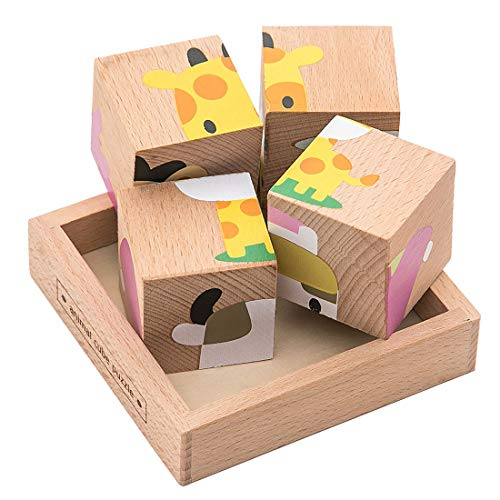 Premium Animal 3D Block Puzzle (6 in 1) with Wood Storage Tray for Preschool Age Toddlers 3, 4 - Colorful Solid Wooden Small Cube Forest Animal Pieces - Hippo Lion Elephant Sheep Giraffe Cow - Block Animals Puzzle