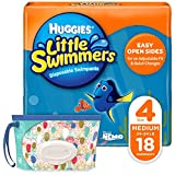 Huggies Little Swimmers Disposable Swim Diapers Swimpants Size 4 Medium 24-34 lb. 18 Ct with Huggies Wipes Clutch N Clean Bonus Pack Packaging May Vary