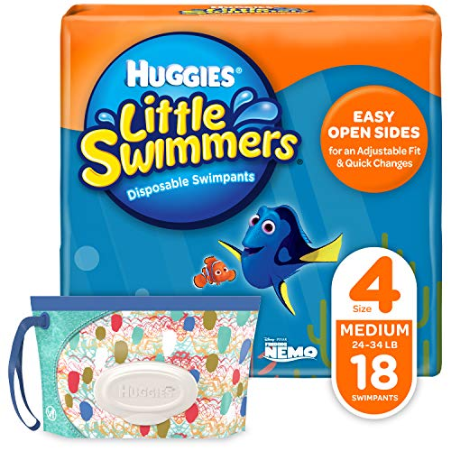 Huggies Little Swimmers Disposable Swim Diapers, Swimpants, Size 4 Medium (24-34 lb.), 18 Ct, with Huggies Wipes Clutch 'N' Clean Bonus Pack (Packaging May -