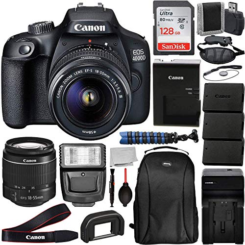 Canon International EOS 4000D DSLR Camera with EF-S 18-55mm f/3.5-5.6 III Lens & Deluxe Accessory Bundle – Includes…