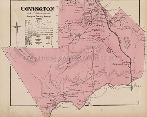 Covington PA Antique Map Beers 1873 Authentic Pennsylvania History Ancestry Gift Ideas