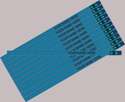 ezpencils Personalized Hexagon Pencils, Sky Blue, 12 Pack -