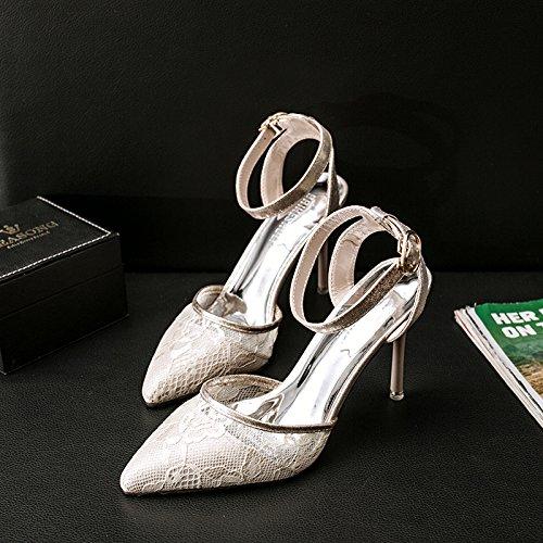 Xue Qiqi Garn High Heels Mädchen Tipp feine Baotou mit geschlitzten Schnalle Baotou feine Sandalen und Veranstaltungsräume single Schnürsenkel, 39, weiß [6] - 20aaf0