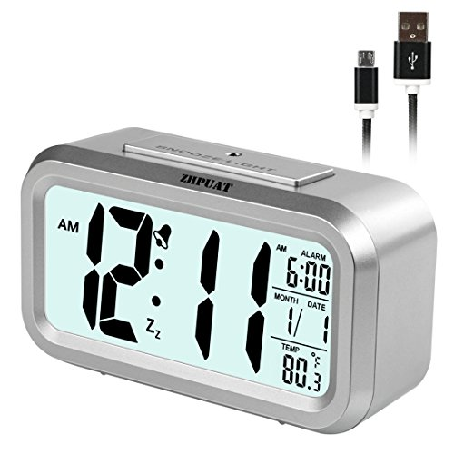 [2017 Version] ZHPUAT Smart Light Alarm Clock with Dimmer, Both Cord and Batteries Supply with Easy Operation (Sliver) - Easy Operation