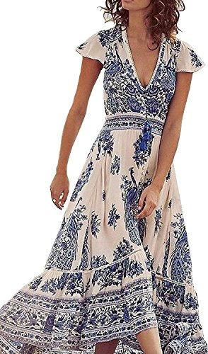 Bestdress Women's Sexy Deep V Floral Print Button Front Boho Maxi Long Beach Dress X-Large Ceramics Button Front Dress