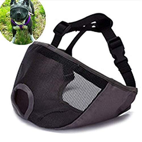 (JWPC Short Snout Dog Muzzle Adjustable Bulldog Muzzle Breathable Mesh Biting Chewing Barking Training Dog mask For Small Medium Large Dogs,Gray)