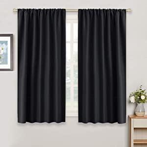 RYB HOME Bedroom Blackout Curtains - Rod Pocket Top Black Curtains Solar Light Block Insulated Drapes Energy Saving for Bedroom Kitchen Dining Living Room, 42 x 45 inches Long, Black, Set of 2