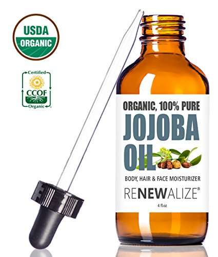 USDA CERTIFIED ORGANIC JOJOBA OIL - Cold Pressed, Unrefined in 4 oz Dark Glass Bottle with Dropper | An essential daily or night time moisturizer for face, skin, nails, lips, beard & hair