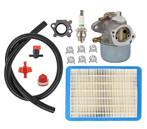 Carburetor Air Filter Spark Plug Fuel Filter Hose For Briggs & Stratton Carb 499059 497586 12D800-123K00 12D802, 12F702, 12F802, 12F812 Vertical Shaft Engine with choke chipper shredder power