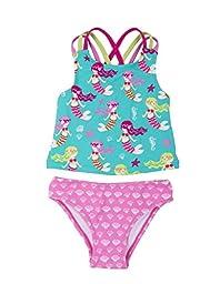 Hatley Little Girls\' Sporty Tankini Set, Sweet Mermaid, 3