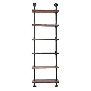 IKayaa 6 Tier Rustic Industrial Ladder Wall Shelves W Wood Planks DIY Iron Pipe Standing