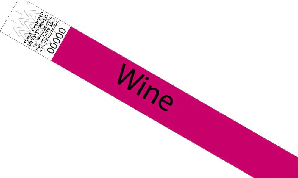 """3/4"""" Solid Tyvek Wristbands 500ct Wine"""