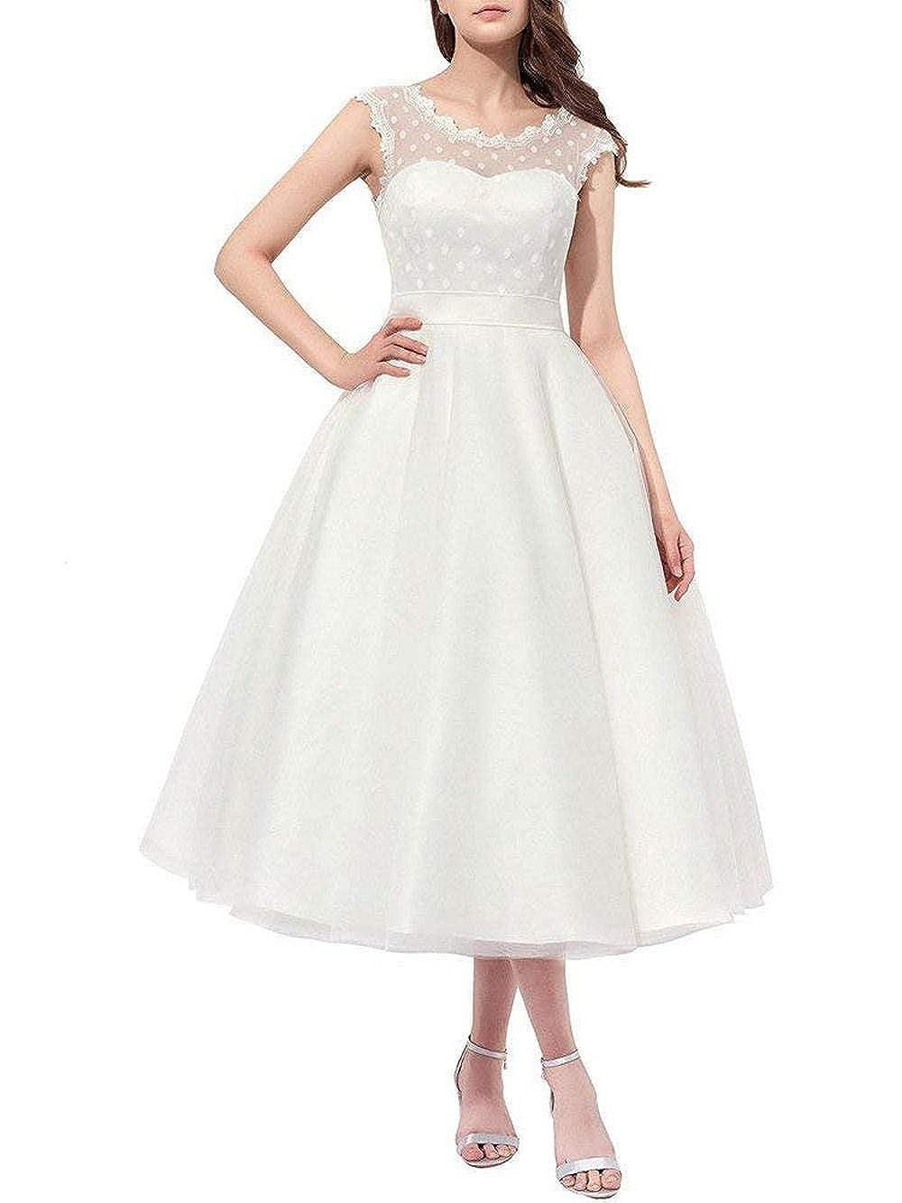 JAEDEN Robes de Mariage Femme Robe de mari/ée Robe Nuptiale Court Tulle Dentelle A Line