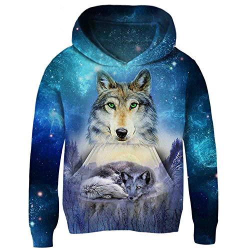 Kids Boy Impreso sudaderas Aideaone 3 3D bolsillo capucha gran Wolf Fleece sudadera Girls con Sweater con xtqxwHg0X
