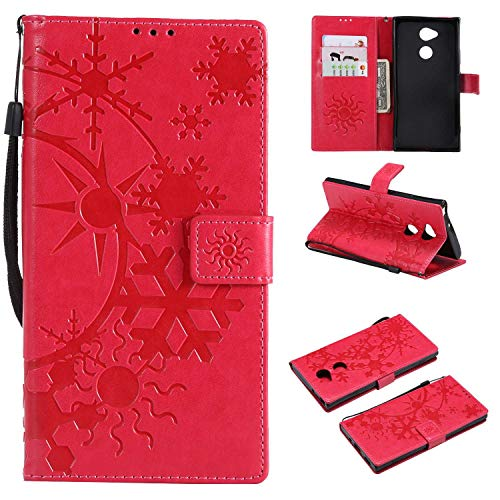 Price comparison product image CUSKING Sony Xperia XA2 Ultra Leather Wallet Case with Card Holder and Stand Function,  Magnetic Flip Folio Slime Protective Cover for Sony Xperia XA2 Ultra - Hot Pink