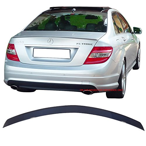 Pre-painted Trunk Spoiler Fits 2008-2014 Benz C-Class W204 | AMG Style ABS Painted #359 Capri Blue Metallic Rear Tail Lip Deck Boot Wing By IKON MOTORSPORTS | 2009 2010 2011 2012 2013