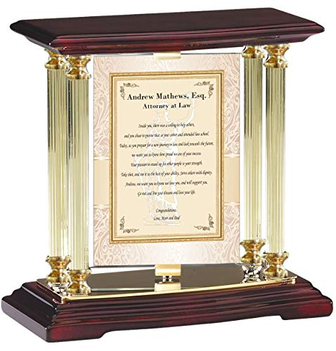 Personalized Juris Doctor Gift Brass Gold Desk Mantel Column Lawyer School Graduation Display Table Top Rotating Billboard Attorney JD Gifts Graduate New Student