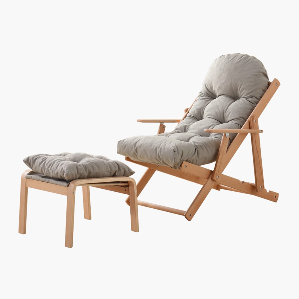 XXHDYR Balkon Liege Faule Couch Stuhl Klappstuhl Mittagspause Paradies Stuhl Sonnenliege Klappstuhl (Farbe : grau, größe : with Stool)