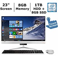 2017 Newest Lenovo Ideacentre AIO 510s 23 Flagship Premium High Performance All-in-One Desktop, Intel Core i7-6500U up to 3.1 GHz, 8GB DDR4 RAM, 1TB HDD + 8GB SSD, WiFi, Bluetooth, Webcam, Windows 10