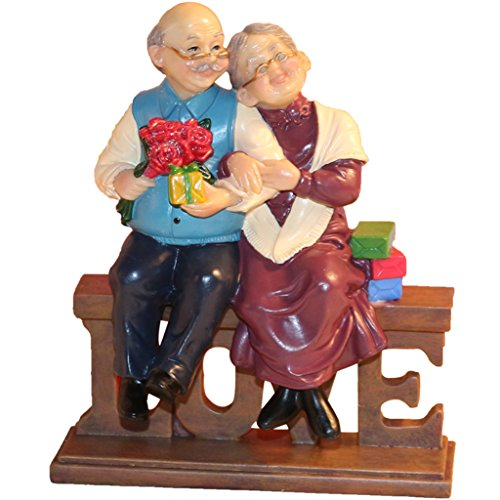 Nanxin Love Anniversary Wedding Statues Loving Elderly Couple Collectible Figurines Grandparents Parents Gifts Resin Old Age Life Home Decoration with Gift Card