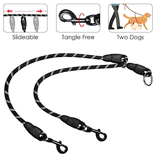 SlowTon Double Dog Leash, 2019 New Version Sliding Design Dual Pet Lead Splitter, 360° Swivel Hook No Tangle Heavy Duty Reflective 2 Dogs Leash Coupler Walking & Training Leash for Two Dogs Daily Use ()